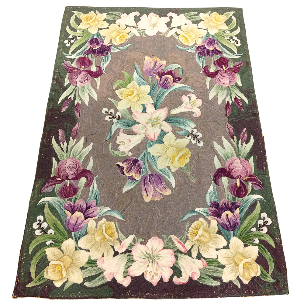 Three Floral-decorated Hooked Rugs.     Estimate $75-100
