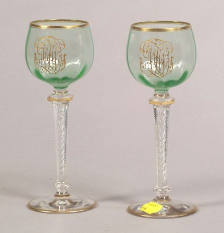 Set of Eight Continental Apple Green and Colorless Gilt Monogrammed Wine Stems