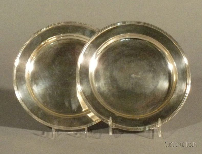 Pair of Russian Silver Plates