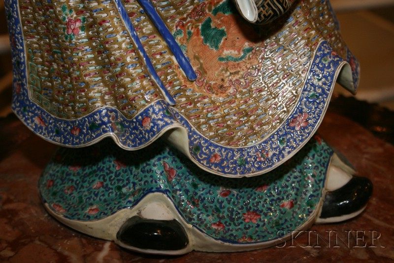 Chinese Polychrome Enameled Porcelain Figure