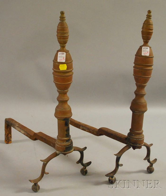Pair of 19th Century Brass Belted Double Lemon-top Andirons