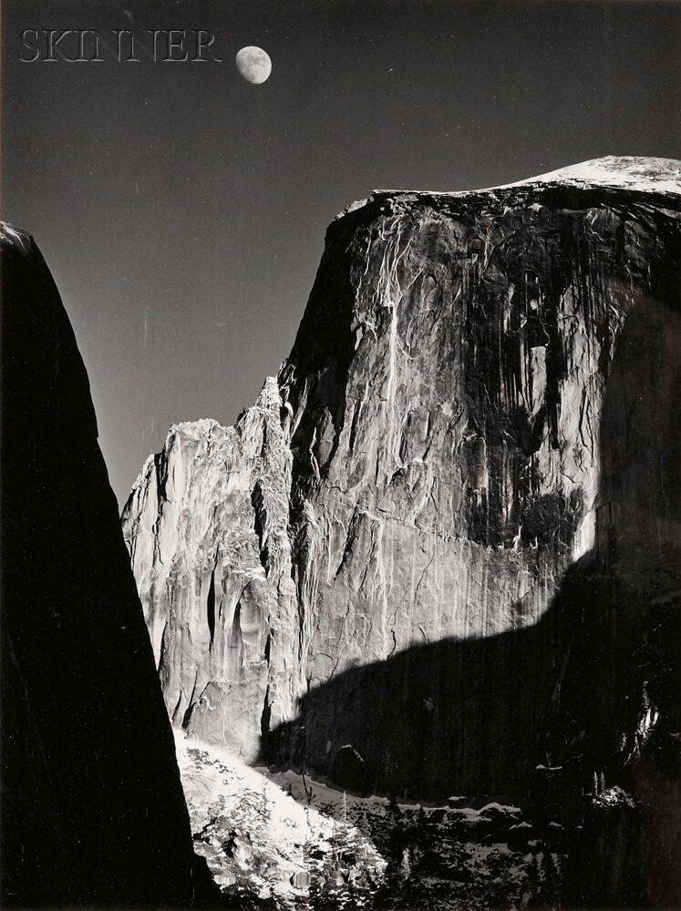 Ansel Adams (American, 1902-1984)      Moon over Half Dome, Yosemite National Park
