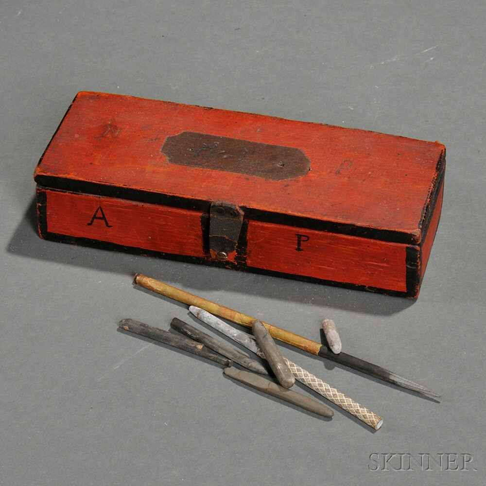 Small Red-painted Box and Contents, and a Paint-decorated Box of Dominoes