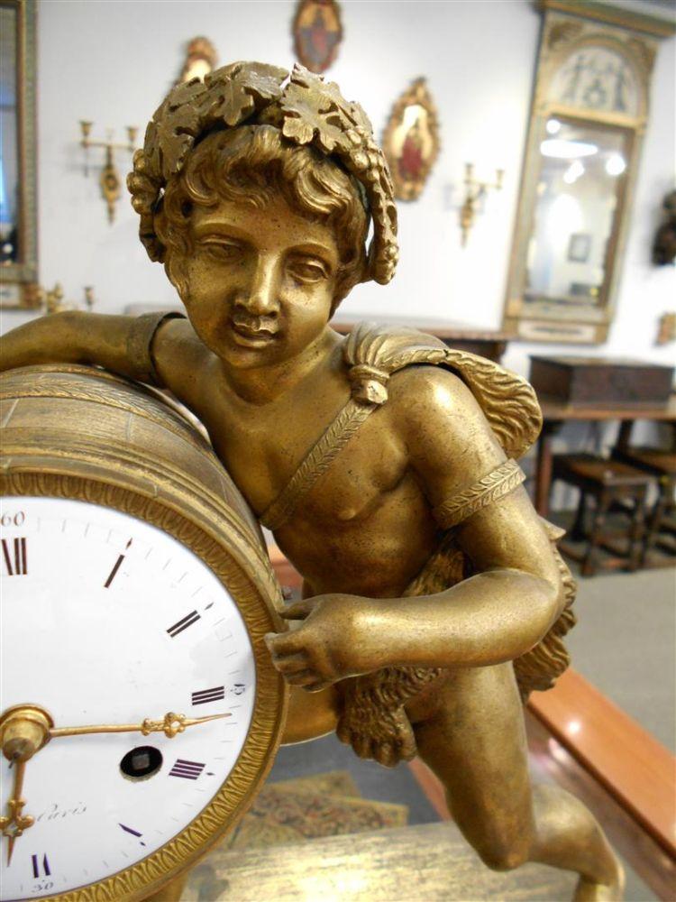 Louis XVI Gilt-bronze Mantel Clock with Bacchus