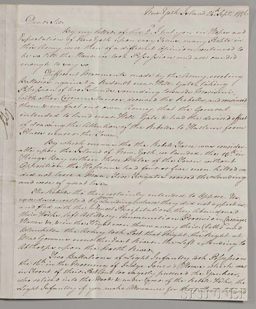 James Grant, Laird of Ballindalloch (1720-1806) Retained Period Copy of a Letter Written 24 September 1776.