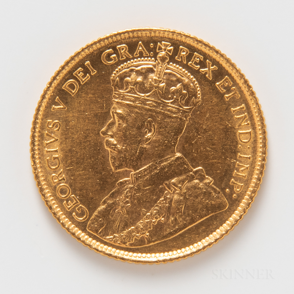 1913 Canadian $5 Gold Coin.     Estimate $200-400