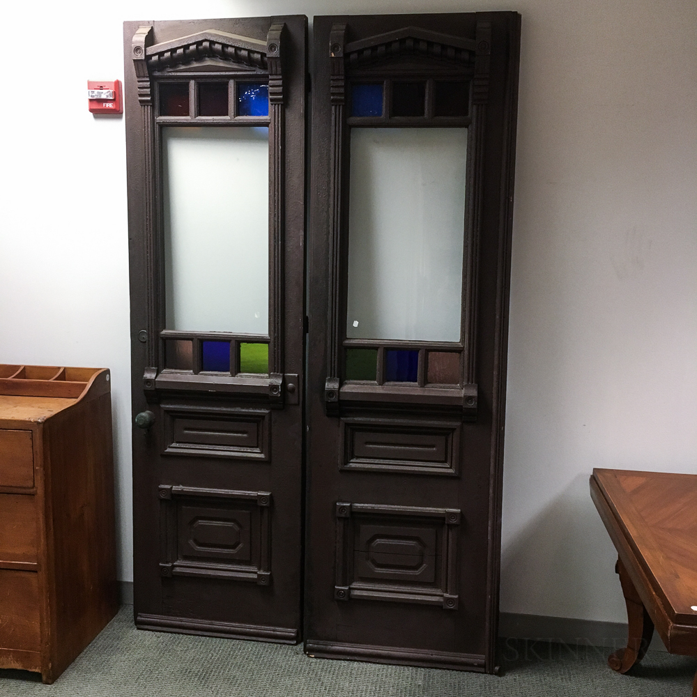 Pair of Renaissance Revival Glazed and Painted Oak Doors