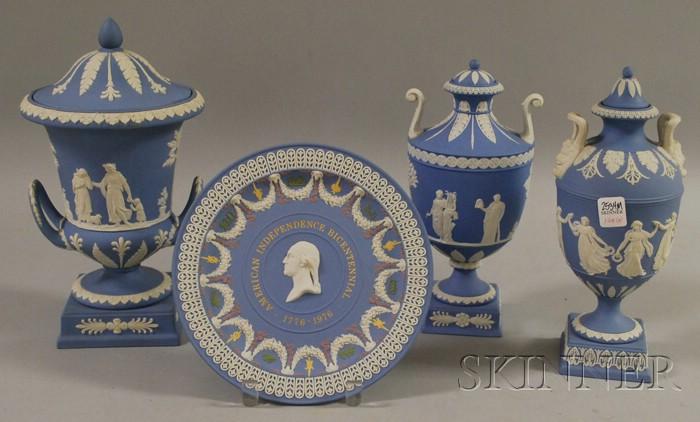 Four Modern Wedgwood Solid Light Blue Jasper Table Items