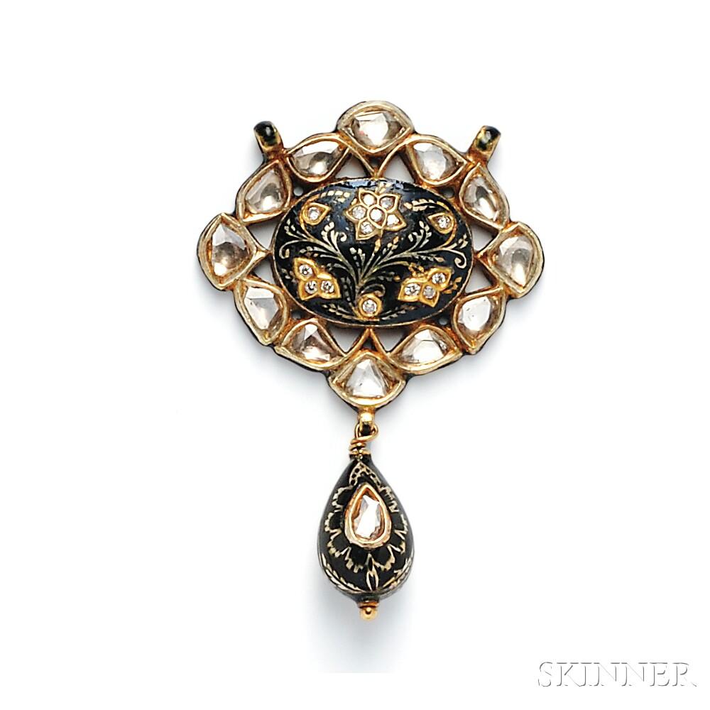 Gold, Enamel, and Diamond Pendant