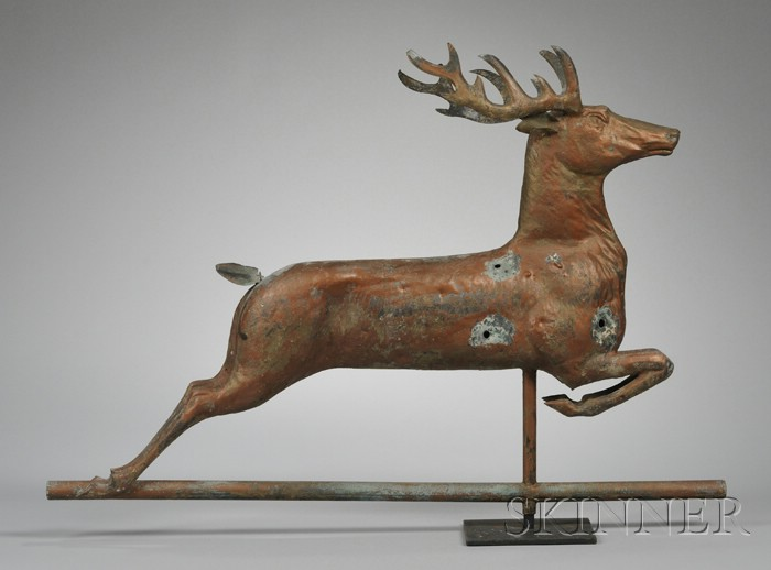 Molded Full-body Leaping Stag Weather Vane