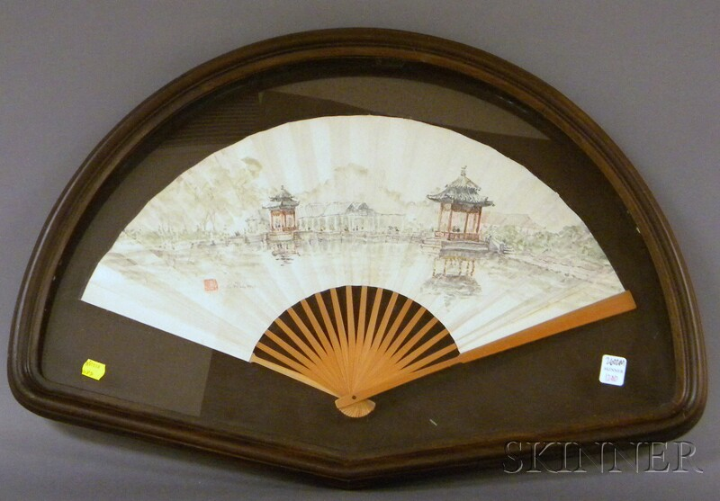 Framed G.S. Hill Watercolor View of an Asian Garden on Paper Hand Fan with Wood   Guards
