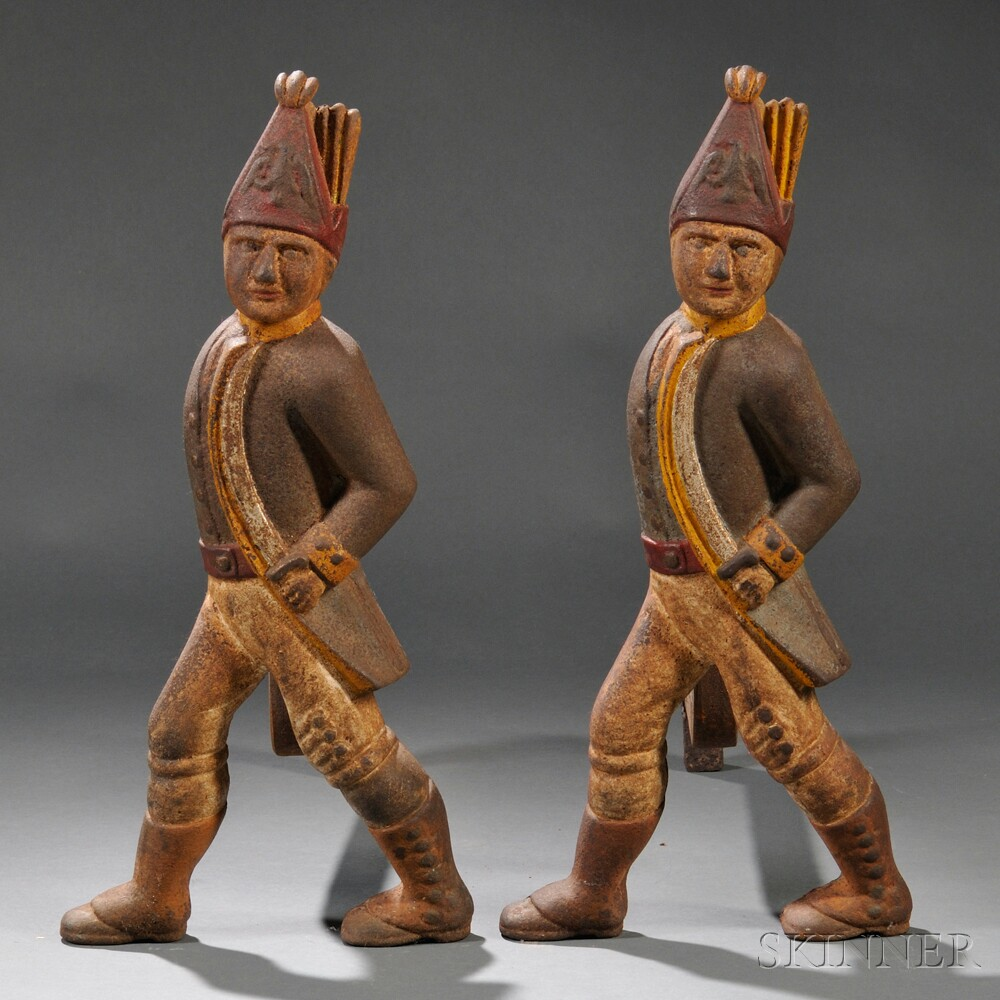 Pair of Painted Cast Iron Hessian Soldier Andirons