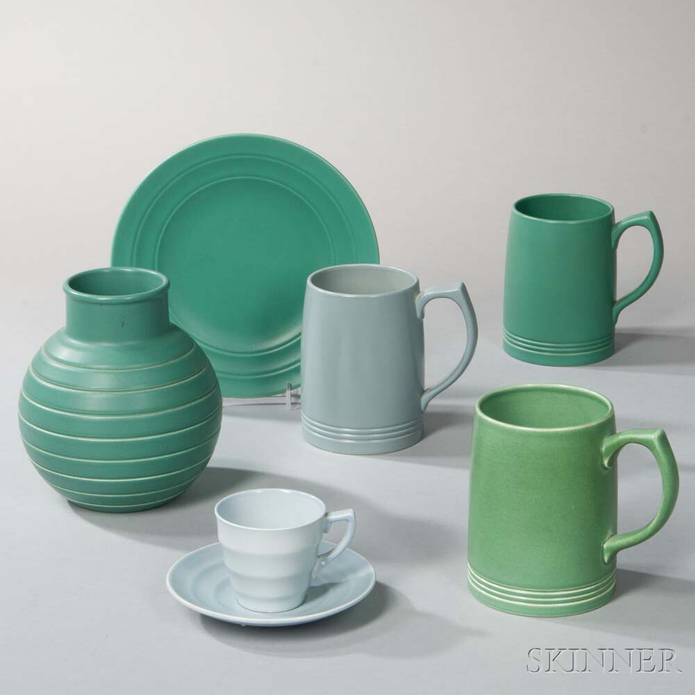 Six Wedgwood Keith Murray Design Matte Glazed Items