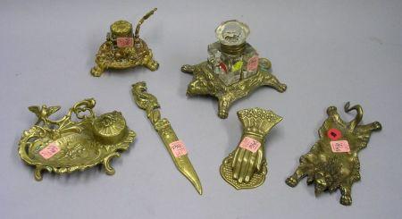 Six Assorted Cast Bronze and Brass Desk Articles.
