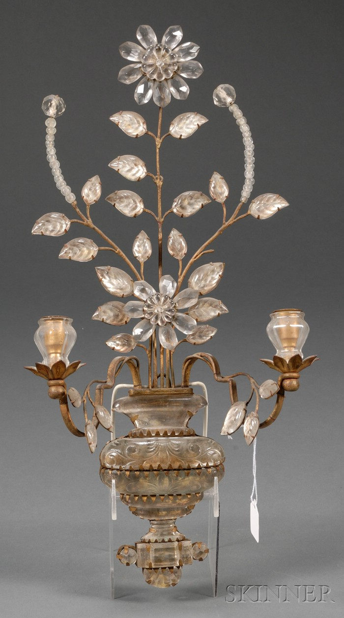 Baroque-style Molded Colorless Glass Two-light Wall Sconce
