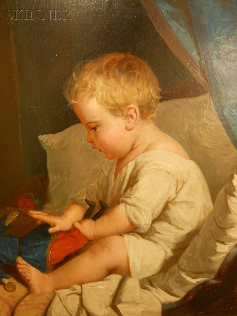 Frank Albert Philips (American, 1835-1903)      Seated Young Boy at Play