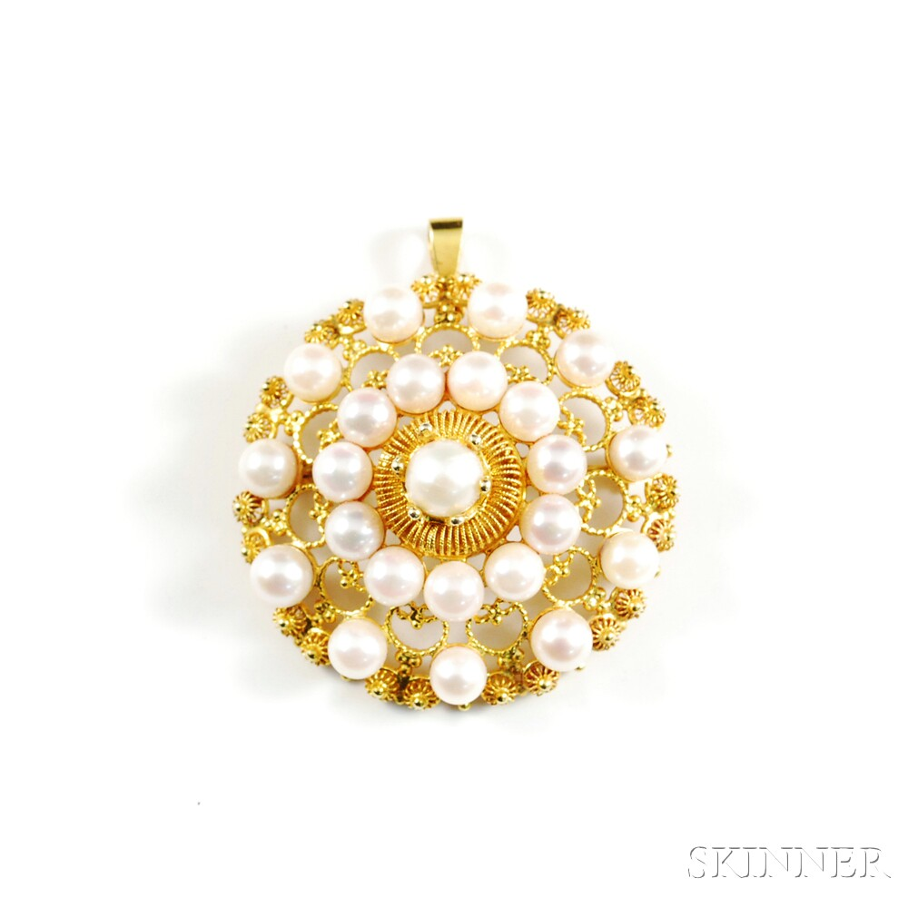 14kt Gold and Cultured Pearl Pendant/Brooch
