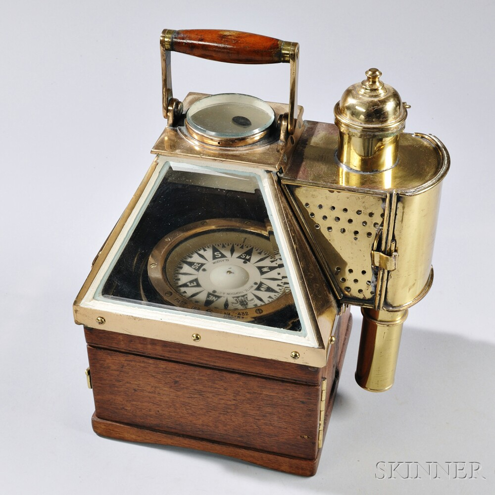"Brass- and Wood-cased Lighted ""Boat Compass,"""