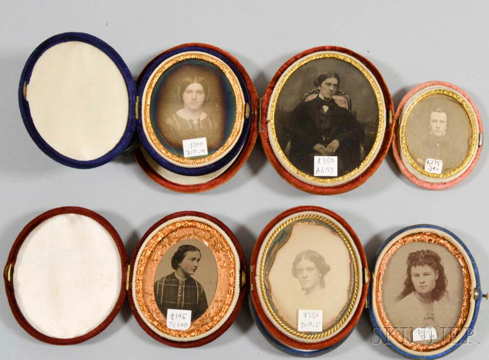 Three Cased Oval Daguerreotypes, Two Ambrotypes, and a Tintype.     Estimate $200-250