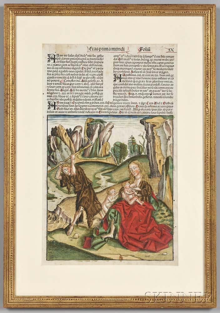 Nuremberg Chronicle, Liber Chronicarum   [Latin Edition], Leaf  IX, Hand-colored.
