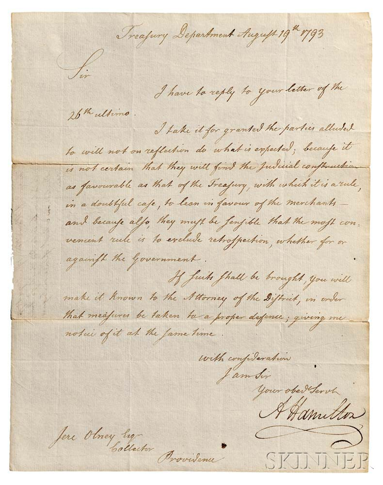 Hamilton, Alexander (1755-1804) Letter Signed, Treasury Department, Philadelphia, 19 August 1793.