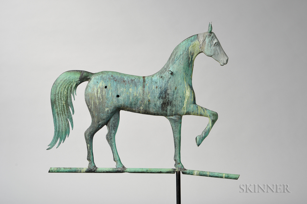 Molded Copper and Cast Zinc Prancing Horse Weathervane