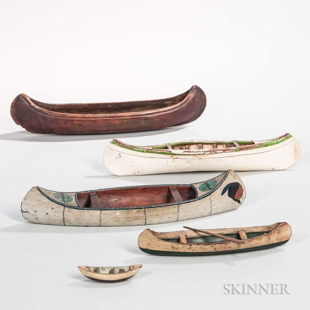 Five Miniature Paint-decorated Canoes