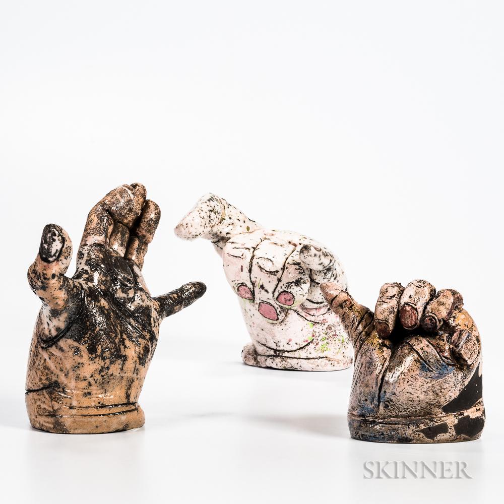 Three Jill Crowley Pottery Hand Sculptures