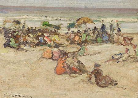 Charles Herbert Woodbury (American, 1864-1940)    Beach Crowd
