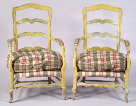 Pair of French Country Painted Ladderback Armchairs