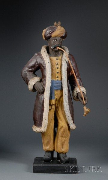 Carved and Polychrome Painted Wooden Turk Tobacconist Figure