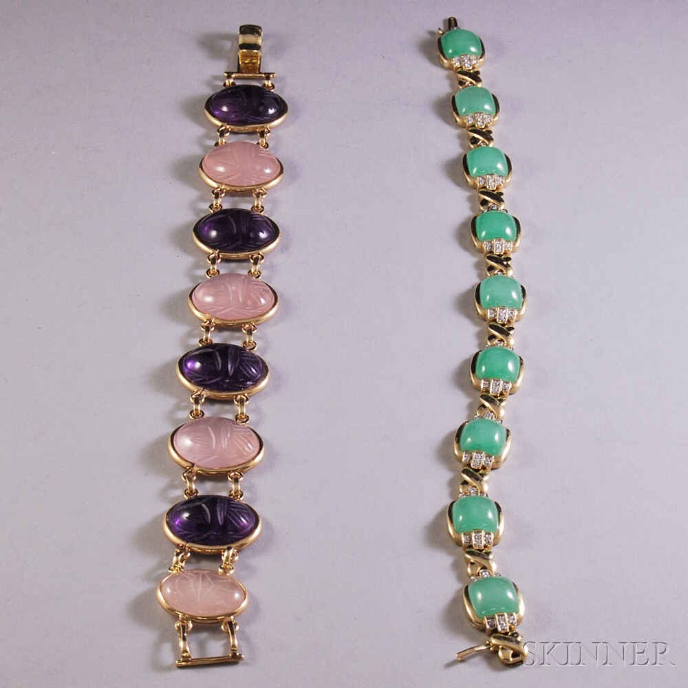 Two 14kt Gold Gem-set Bracelets