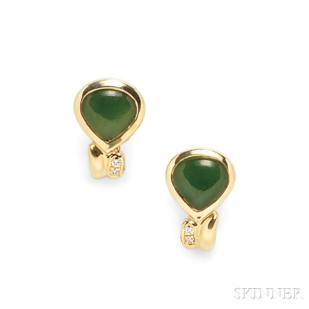 18kt Gold, Nephrite, and Diamond Earclips, Manfredi