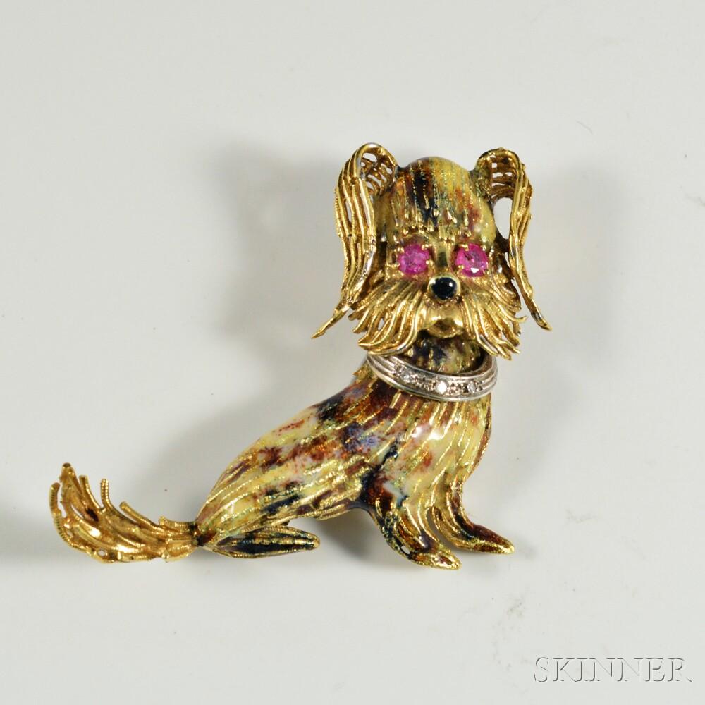 18kt Gold, Enamel, and Gem-set Dog Brooch