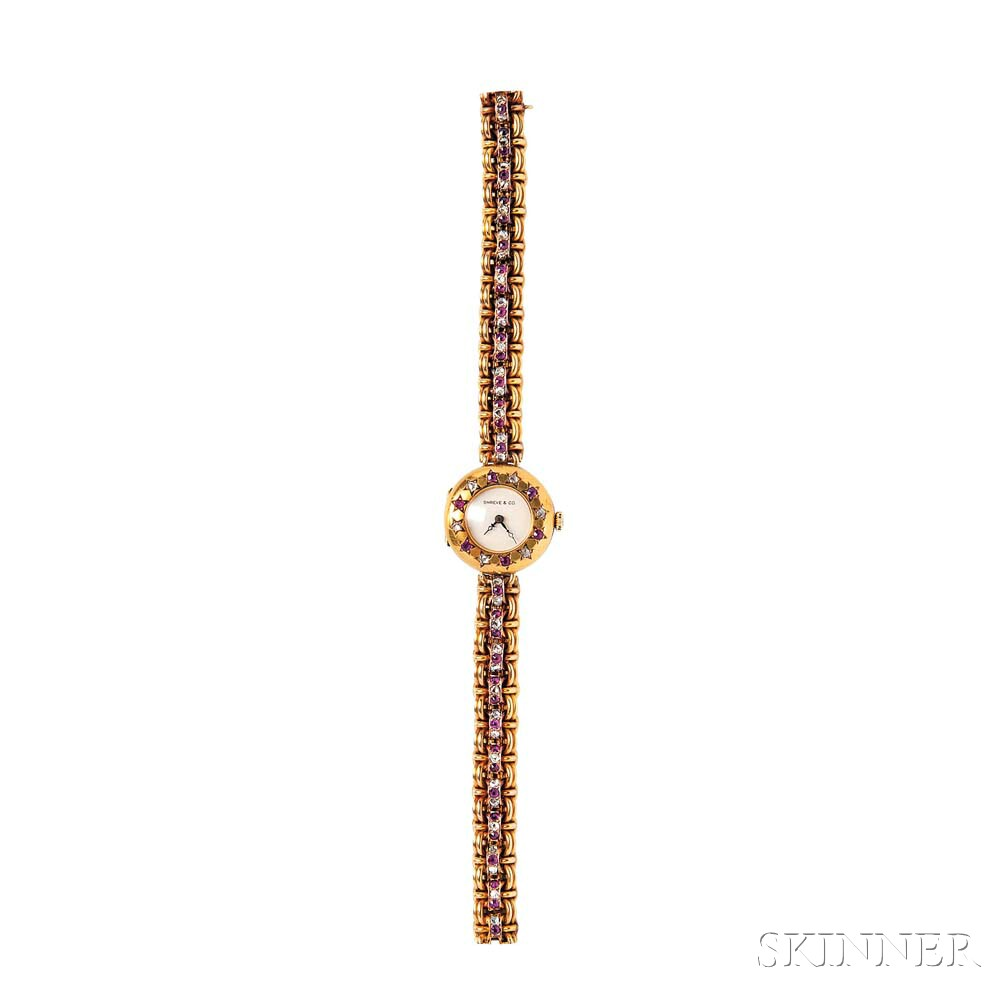 Antique 18kt Gold, Ruby, and Diamond Wristwatch, Shreve & Co.
