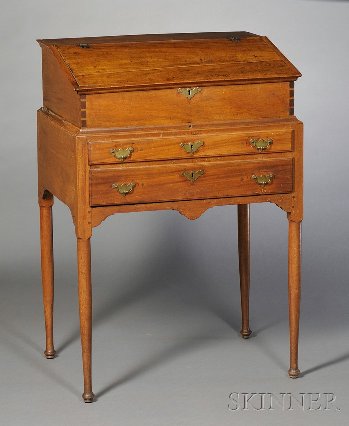 Queen Anne Carved Mahogany Desk on Frame