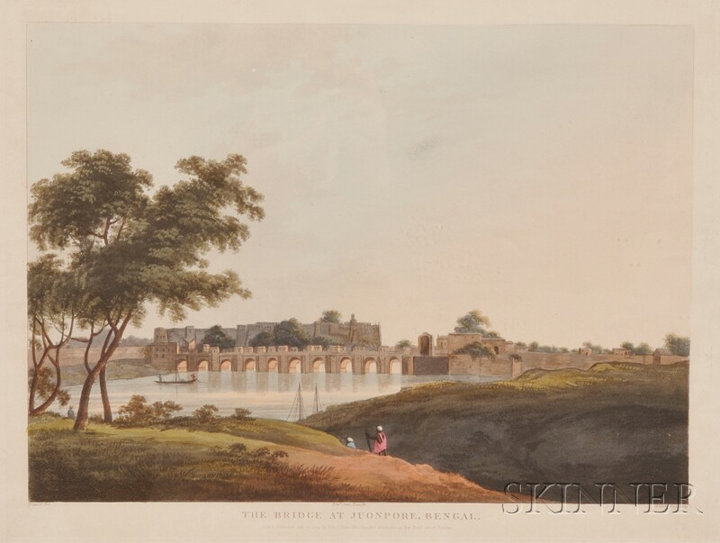 Aquatint The Bridge at Juonpore, Bengal