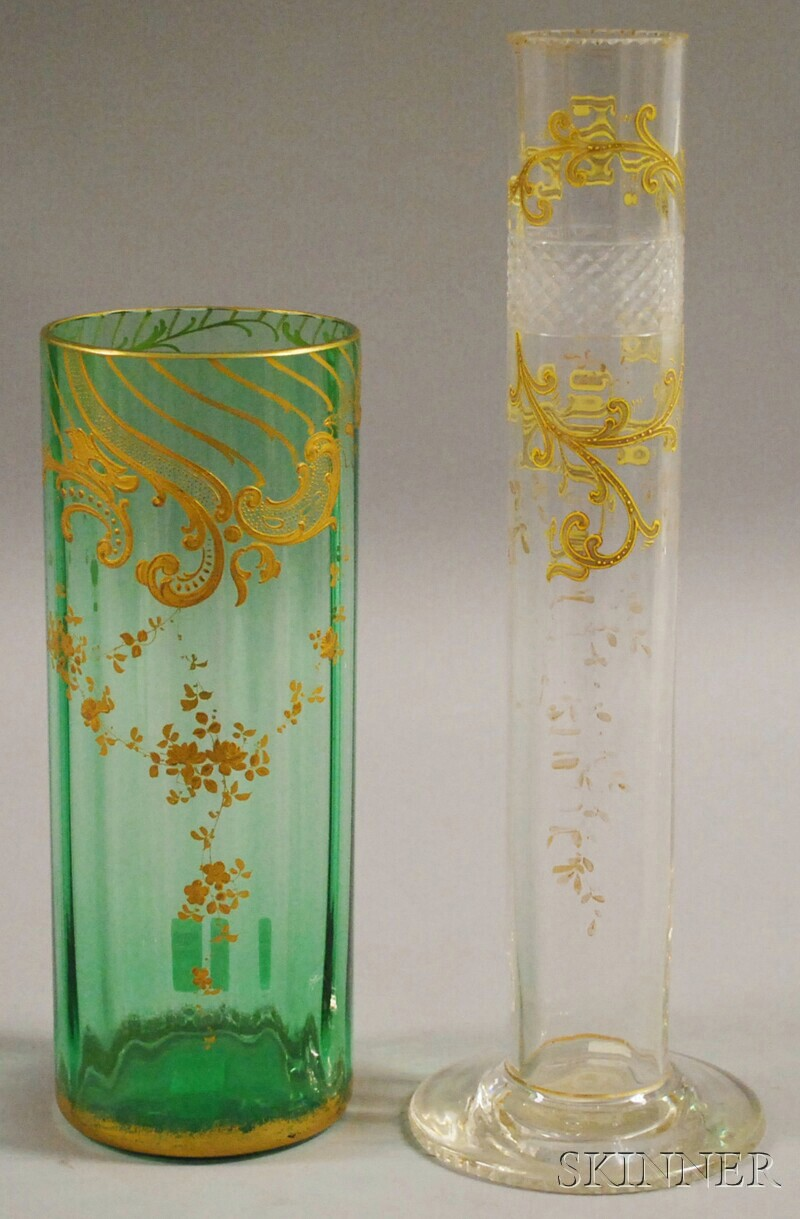 Two Bohemian Glass Cylindrical Vases