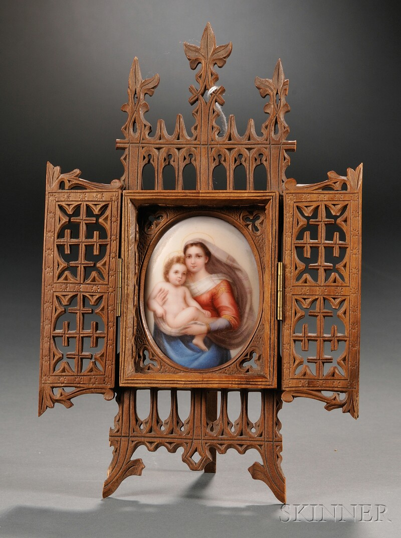 Painted Porcelain Plaque of the Madonna and Child in a Wood Case