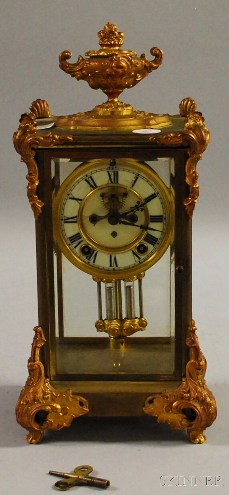 Ansonia French Rococo-style Gilt-brass and Glass Chiming Mantel Clock