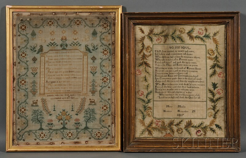 Two Framed British Needlework Samplers