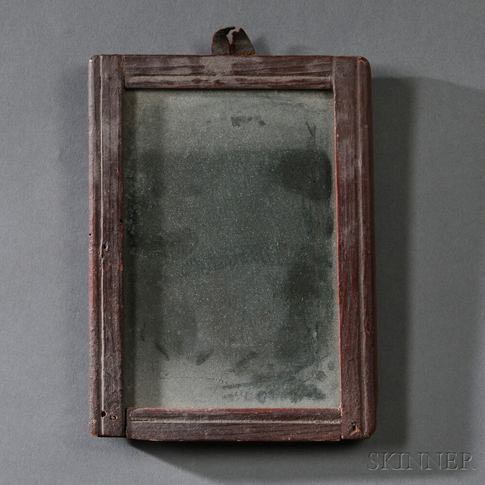 Red-painted and Carved Wood-framed Mirror
