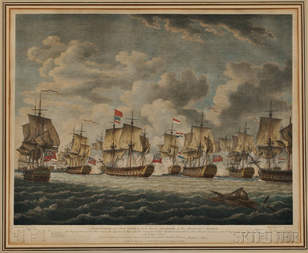 Daniel Lerpiniere (French, 1745-1785), After Richard Paton (British, 1717-1791), To Hyde Parker, Esq., Vice Admiral of the Blue Squadro