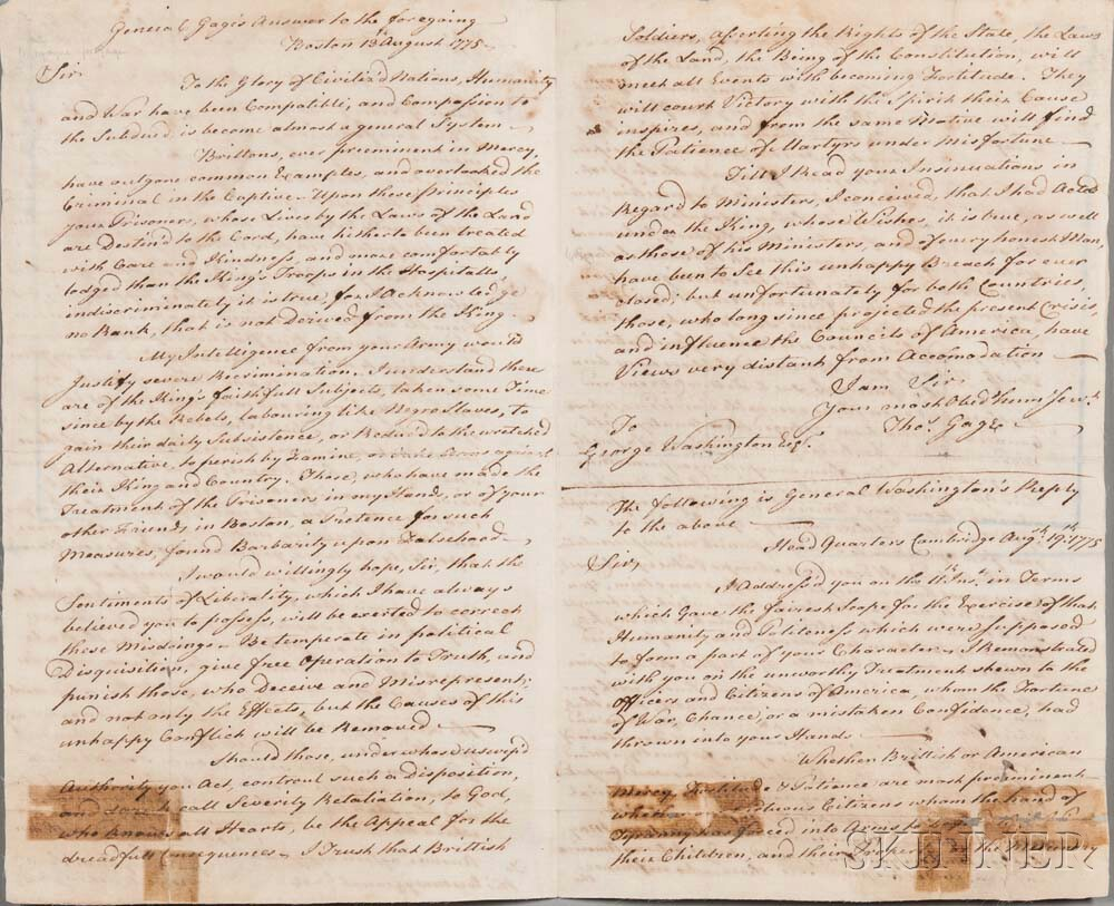 Washington, George (1732-1799) Contemporary Fair Copy of Correspondence between General George Washington and Lieutenant General Thomas