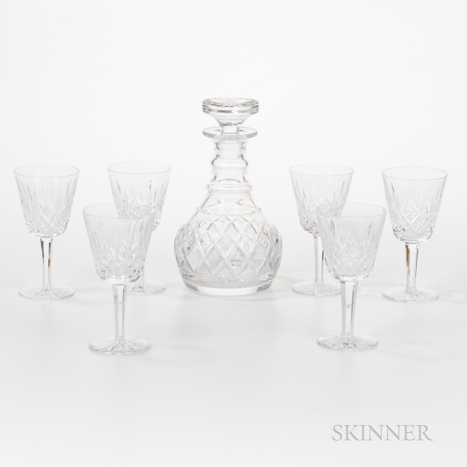 Set of Six Waterford Lismore Pattern Crystal Wines and an English Decanter with Stopper
