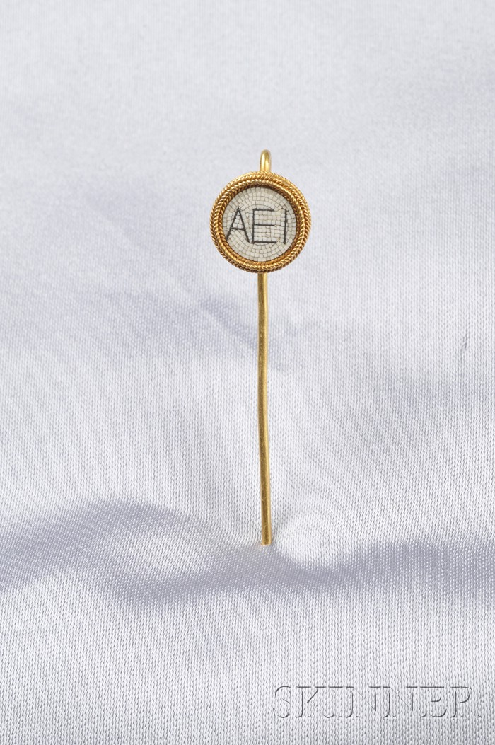 Archeological Revival 18kt Gold and Micromosaic Stick Pin, Castellani