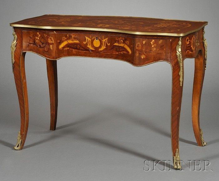 Louis XV Style Bronze-mounted and Marquetry-inlaid Mahogany Writing Table