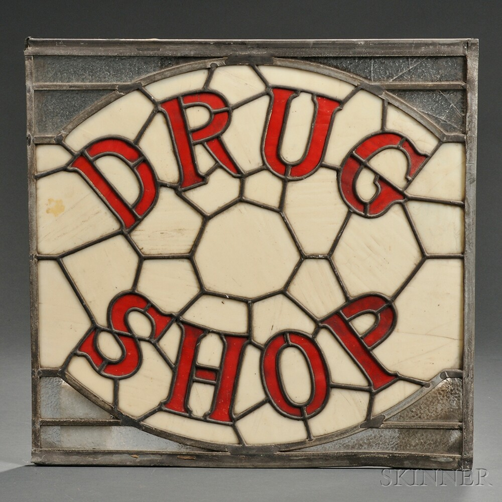 """Stained and Leaded Glass """"DRUG SHOP"""" Sign"""
