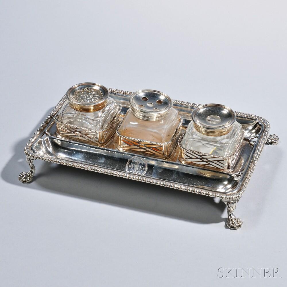 George III Sterling Silver Inkstand