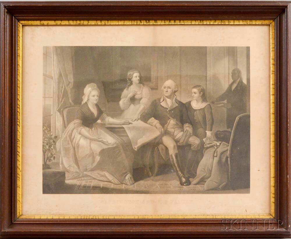 Framed Irwin & Sartain Washington And His Family   Print